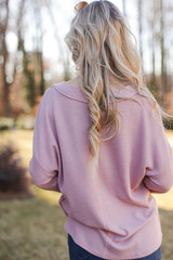 Waffle Knit Henley Top in Blush Back View