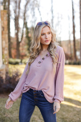 Blush Waffle Knit Henley on a model with denim