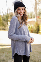 Grey - Oversized Knit Top Front View