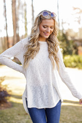 Ivory - Dress Up model wearing an Oversized Knit Top