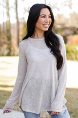 Taupe - Model wearing an Oversized Knit Top with jeans