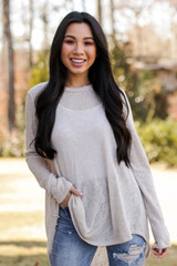 Taupe - Dress Up model wearing an Oversized Knit Top with jeans