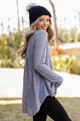 Oversized Knit Top in Grey Side View