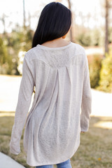 Oversized Knit Top in Taupe Back View