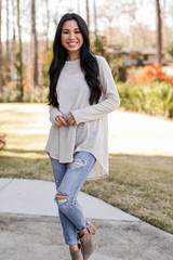 Oversized Knit Top in Taupe Front View