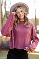 Marsala - Mock Neck Waffle Knit Top from Dress Up