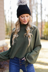 Olive - Model wearing a Mock Neck Waffle Knit Top