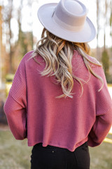 Mock Neck Waffle Knit Top in Marsala Back View