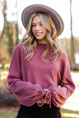 Mock Neck Waffle Knit Top in Marsala Front View
