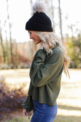 Mock Neck Waffle Knit Top in Olive Side View