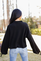 Mock Neck Waffle Knit Top in Black Back View