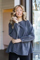 Charcoal - Model wearing an Oversized Babydoll Pullover