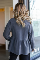 Oversized Babydoll Pullover in Charcoal Back View