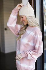 Oversized Tie-Dye Pullover in Mauve Side View