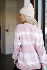 Oversized Tie-Dye Pullover in Mauve Back View