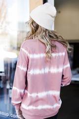 Oversized Tie-Dye Pullover in Blush Back View