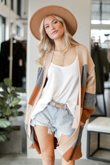 Camel - Color Block Sweater Cardigan from Dress Up
