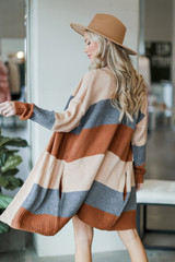 Color Block Sweater Cardigan Back View