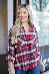 Red - Oversized Plaid Flannel from Dress Up