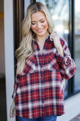 Red - Oversized Plaid Flannel Front View