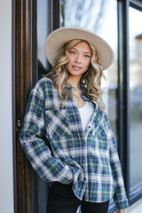 Green - Model wearing an Oversized Plaid Flannel