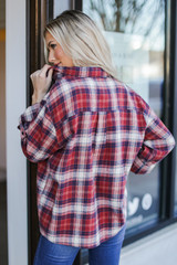 Oversized Plaid Flannel in Red Back View