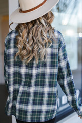 Oversized Plaid Flannel in Green Back View