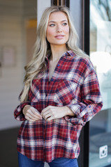 Oversized Plaid Flannel in Red Side View