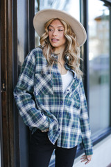 Oversized Plaid Flannel in Green Front View