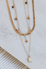 Gold - Star + Moon Layered Necklace from Dress Up