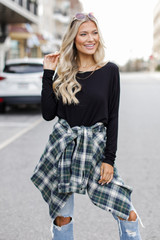 Black - Model wearing an Oversized Jersey Knit Top with a flannel