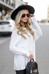 Oversized Jersey Knit Top in Ivory Side View
