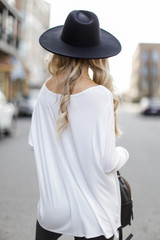 Oversized Jersey Knit Top in Ivory Back View