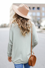 Oversized Jersey Knit Top in Sage Back View