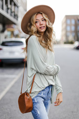 Oversized Jersey Knit Top in Sage Side View