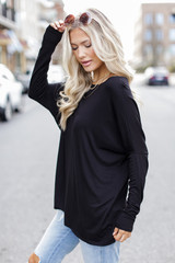 Oversized Jersey Knit Top in Black Side View