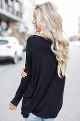 Oversized Jersey Knit Top in Black Back View