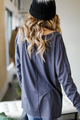 Basic Oversized Knit Top in Charcoal Back View