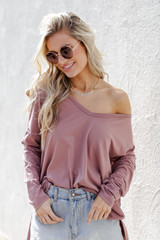 Mauve - Basic Oversized Knit Top from Dress Up
