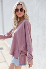 Basic Oversized Knit Top in Mauve Side View