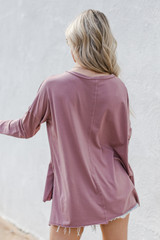 Basic Oversized Knit Top in Mauve Back View