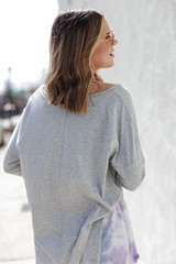 Basic Oversized Knit Top in Heather Grey Back View