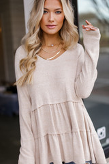 Taupe - Brushed Knit Tiered Babydoll Top from Dress Up