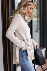 Brushed Knit Tiered Babydoll Top in Taupe Side View