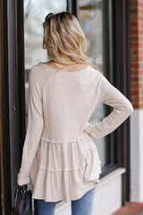 Brushed Knit Tiered Babydoll Top in Taupe Back View