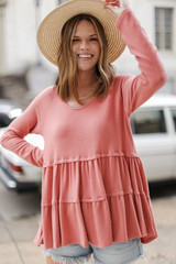 Coral - Model wearing a Brushed Knit Tiered Babydoll Top