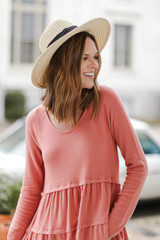Coral - Dress Up model wearing a Brushed Knit Tiered Babydoll Top