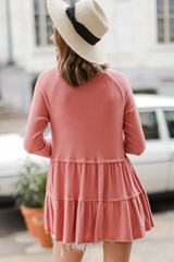 Brushed Knit Tiered Babydoll Top in Coral Back View