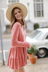 Brushed Knit Tiered Babydoll Top in Coral Side View