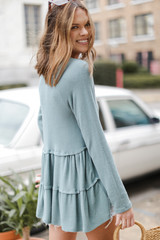 Brushed Knit Tiered Babydoll Top in Sage Back View